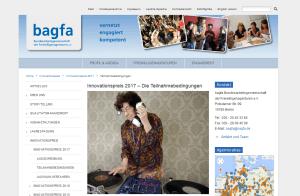 Screenshot der Website der bagfa