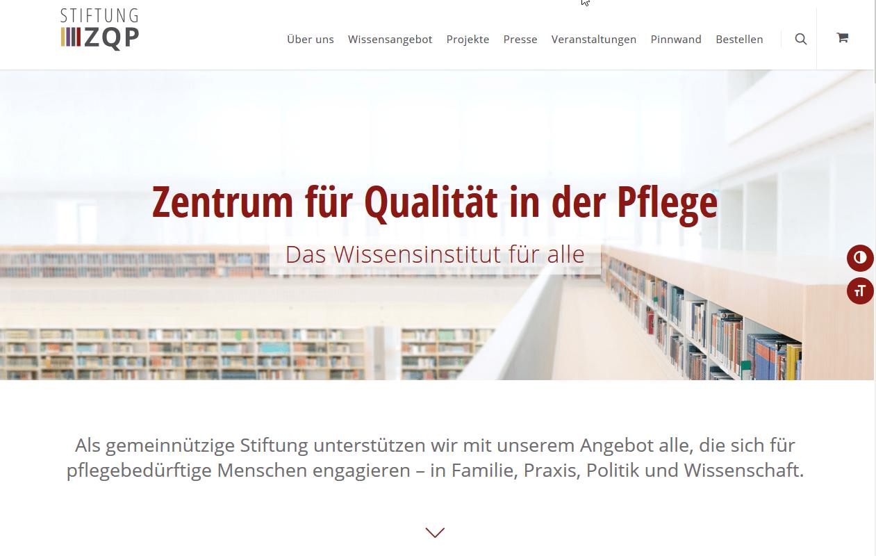 Internetseite ZQP Zentrum für Qualität in der Pflege
