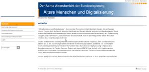 Screenshot dder Website zum achten Altenbericht