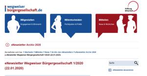 Screenshot der Website des Wegweisers Bürgergesellschaft