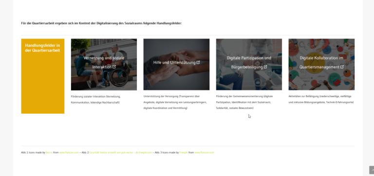 Screenshot der Website mit den Handlungsfeldern