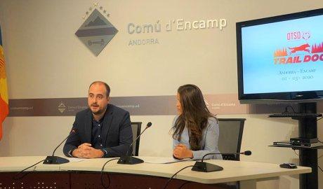 Xavier Fernàndez i Liliana Ochoa presenten la OTSO Trail Dog d'Encamp