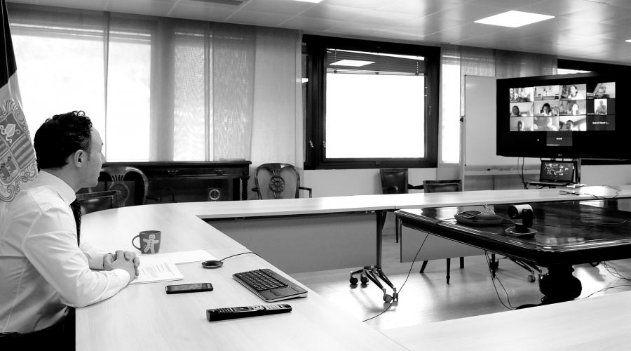 El cap de Govern, Xavier Espot, en una reunió telemàtica