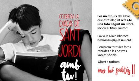 cartell de sant Jordi a la biblioteca Sant Agustí