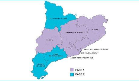 Mapa regions sanitàries catalanes segons fase de desconfinament a partir del 25 de maig del 2020