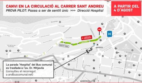 Plànol en el que hi ha marcat el canvi de circulació al carrer Sant Andreu