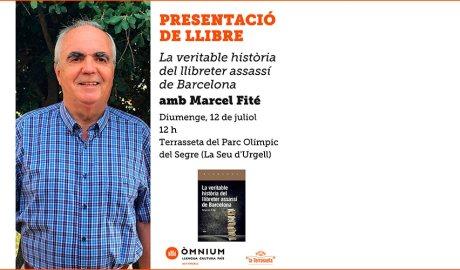 Cartell de presentació de la novel·la 'La veritable història del llibreter assassí de Barcelona' de Marcel Fité