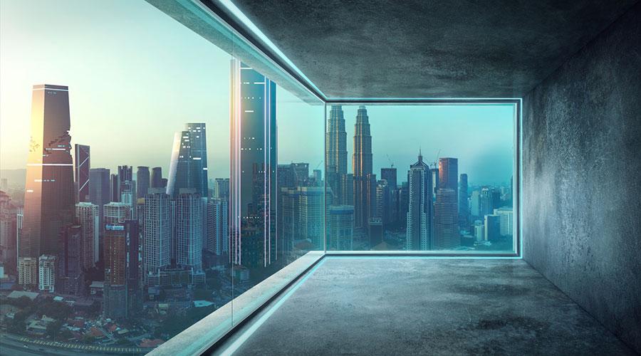 Terra, sostre i paret amb microciment.