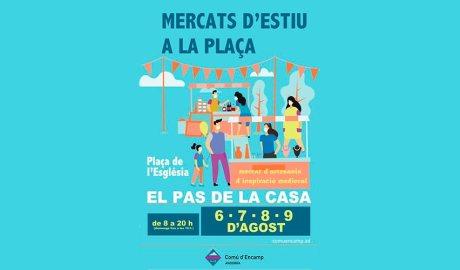Cartell anunciant un mercat d'estiu al Pas de la Casa