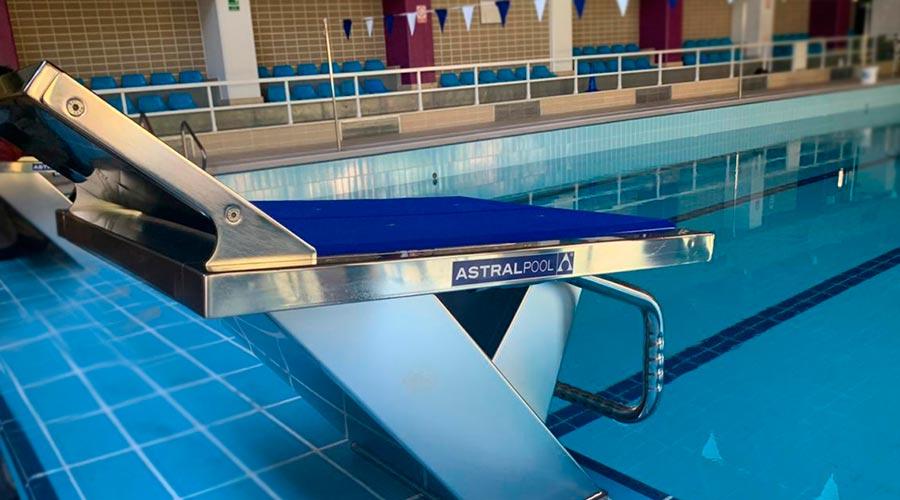 Un pòdium de competició de la piscina coberta del Complex Esportiu d'Encamp