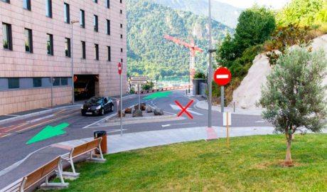 Imatge del carrer Sant Andreu amb els canvis del trànsit marcats