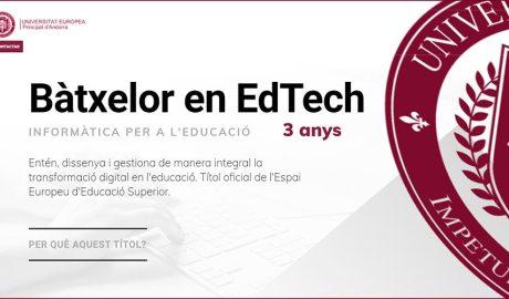 Pantalla d'inici del web del bàtxelor d'informàtica per a l'educació de la universitat europea d'Andorra