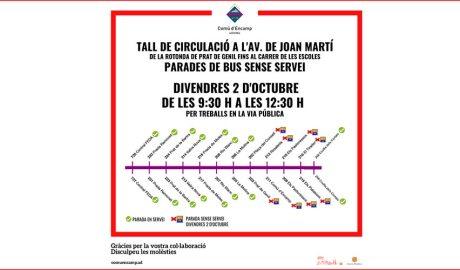 Gràfic que mostra les parades d'autobús afectades per un tall de circulació a l'avinguda Joan Martí d'Encamp