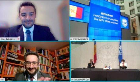 Marc Ballestà i Eric Jover participen telemàticament a l'acte mitjançant el qual Andorra esdevé membre de ple dret del FMI