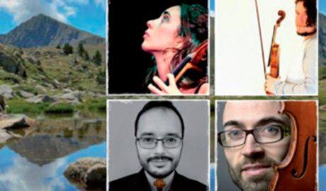 Imatge promocional del Quartet Madriu, amb fotografies dels quatre integrants