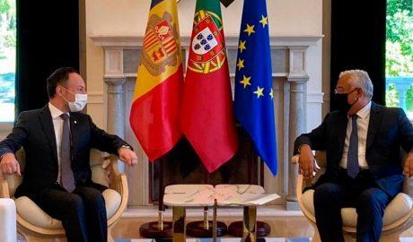 Xavier Espot i António Costa en una reunió a Lisboa