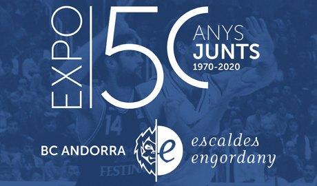 Publicitat de l'exposició dels 50 anys del Bàsquet Club Andorra
