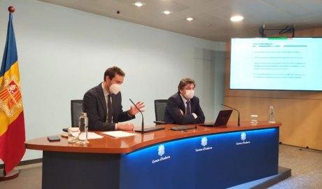 El secretari d'Estat de Diversificació Econòmica i Innovació, Marc Galabert, i el director del Departament d'Estadística, Joan Soler