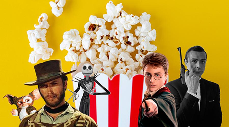 Diferents personatges de pel·lícules davant un pot de crispetes