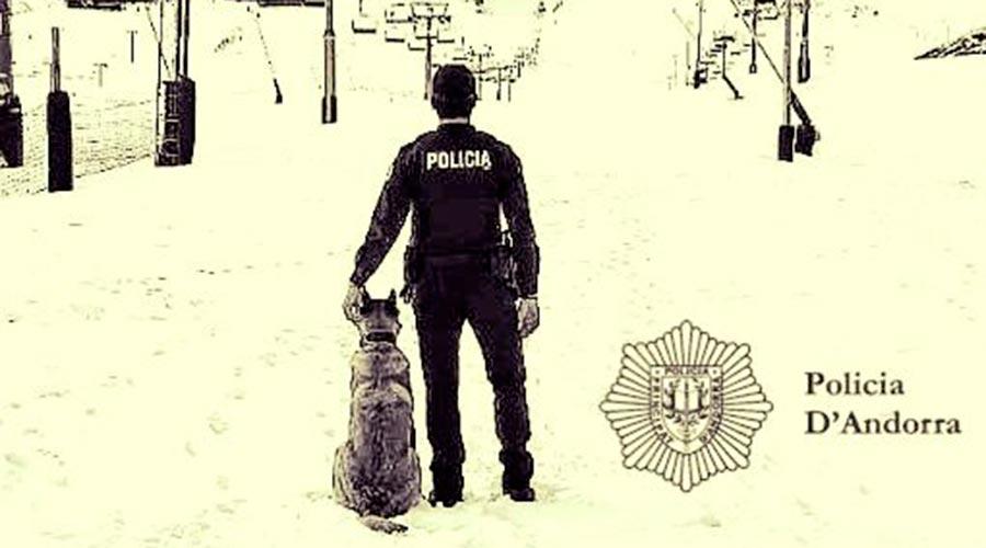 Un agent de Policia amb un gos a les pistes d'esquí