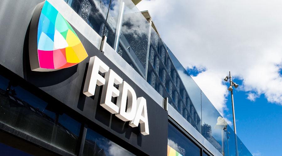 El cartell de FEDA de les oficines de Prat de la Creu