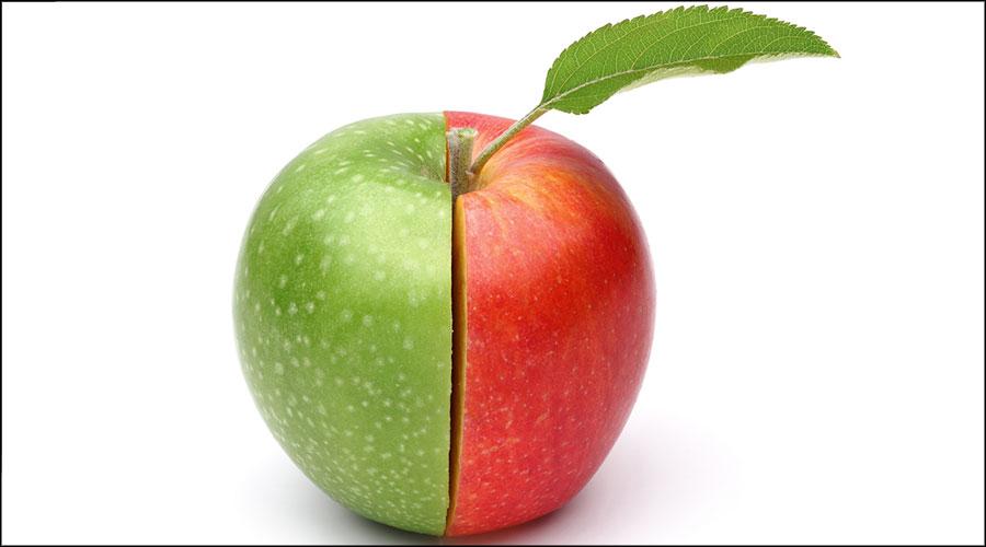 Poma vermella i verda