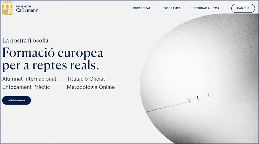 Pàgina d'inici del web de la Universitat Carlemany