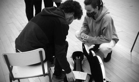 David Font i Marta Moran al taller 'Música i Creativitat'