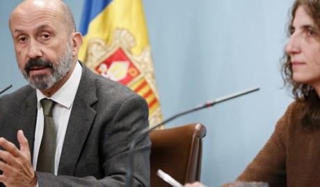 Joan Martínez Benazet i Odile Sarroca en la roda de premsa per explicar la confirmació del primer cas de coronavirus SARS-CoV-2 del Principat