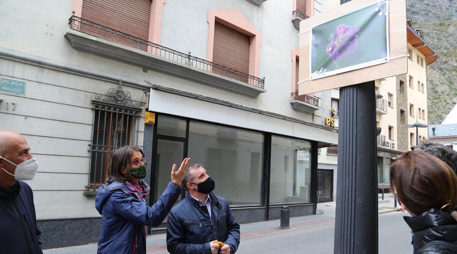 Pladevall i Majoral contemplant una de les fotografies de l'exposició 'Flora del Pirineu'