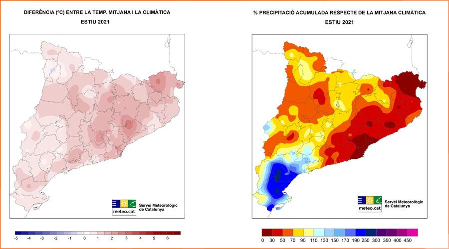 Mapes de variacions de temperatura i de precipitació de l'estiu 2021