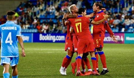 Els tricolors celebren un gol en el partit contra San Marino