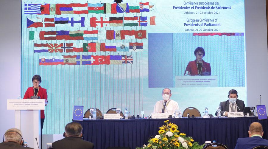 Suñé intervenint a la Conferència europea de Presidentes i Presidents de parlaments.