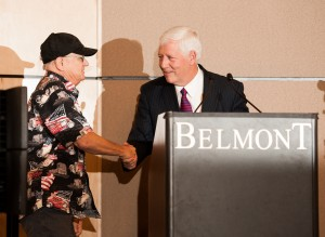A-Team session musician Charlie McCoy greets Belmont President Dr. Bob Fisher.