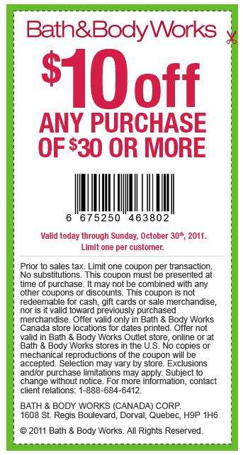 Bath And Body Works Printable Coupon May 2013