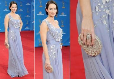 Emily Blunt usou um longo de ombro único bordado com flores da coleção de resort da Dior