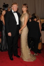 Donald Trump with Melania Trump, in Reem Acra, with Alexander McQueen jewels and clutch.