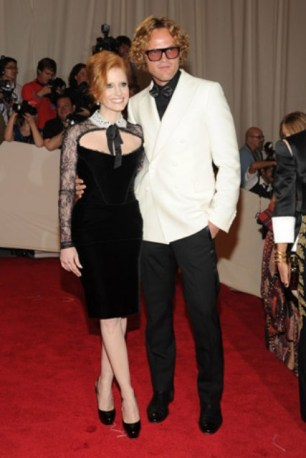 Jessica Chastain, in Emilio Pucci, with Forevermark jewels; with designer Peter Dundas.