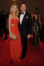 Lara Stone, in Calvin Klein Collection, with Harry Winston jewels; with David Walliams.