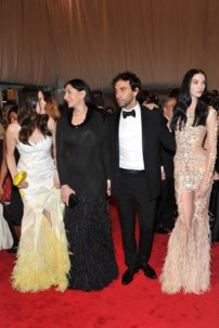 Liv Tyler, Marina Abramović, and Mariacarla Boscono, all in Givenchy Haute Couture by Riccardo Tisci, with the designer.