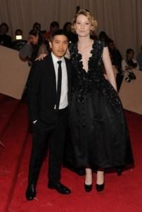 Thakoon Panichgul with Mia Wasikowska, in a dress by the designer, with Tasaki by Thakoon jewels.