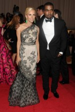 Tory Burch, in vintage Jean Patou, with David Webb jewels; with Kanye West, in custom Tory Burch.