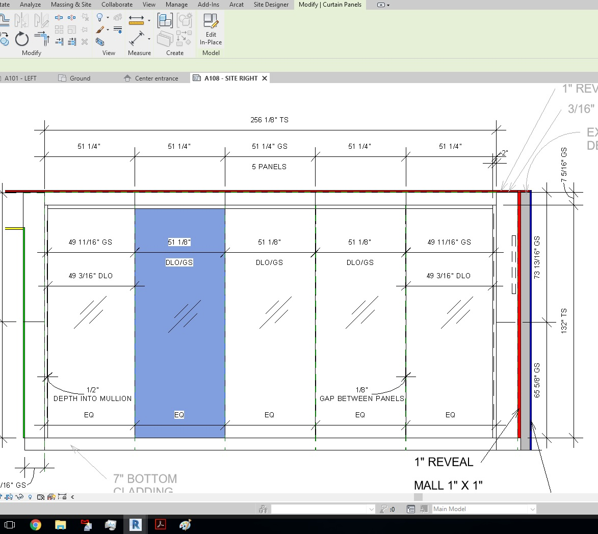 adjusting size of curtain wall glass