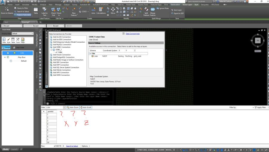 Solved  Connecting to XYZ file   Autodesk Community  AutoCAD Map 3D