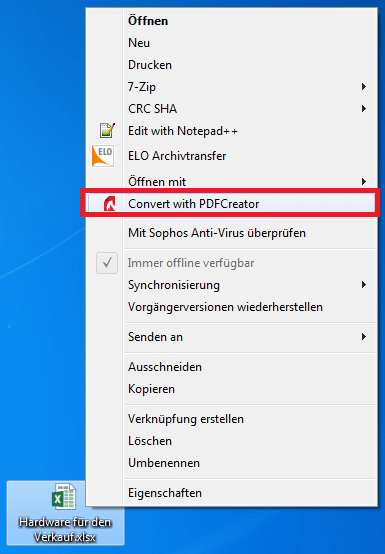 Konvertierung Von Excel 2016 Per Windows Explorer