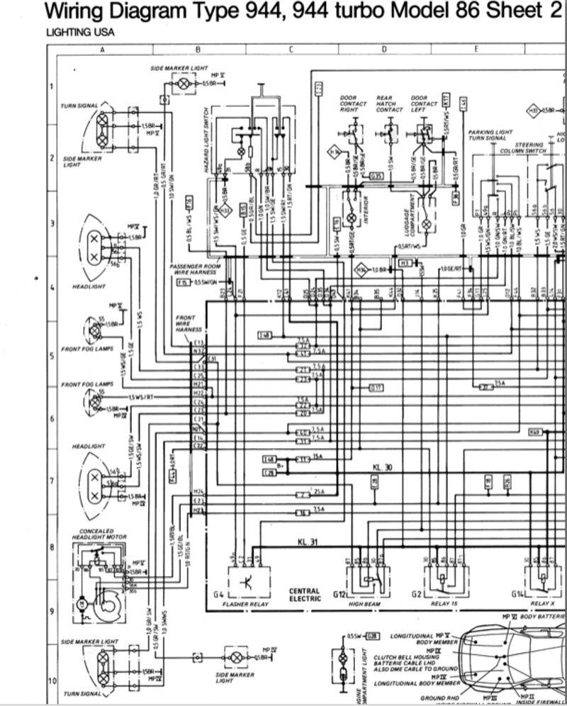 Wiring Diagram Type 924 S Model 87 Sheet Porsche 944 Electrics 1987 924s Ignition 31 Images