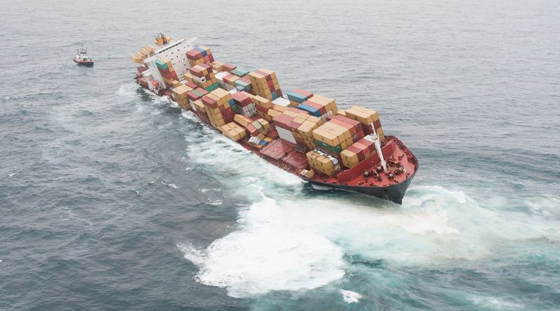 Containership in trouble at sea