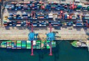 War on trade : Container ship at Port, Overhead view