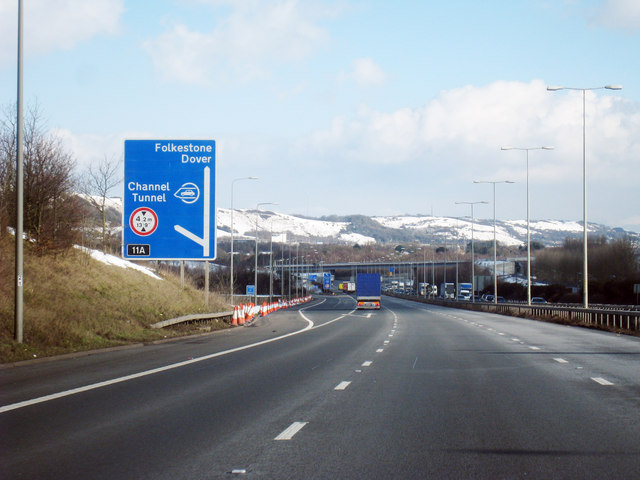 m20 Motorway depicting sign for the Channel Tunnel and ports of Folkestone / Dover.
