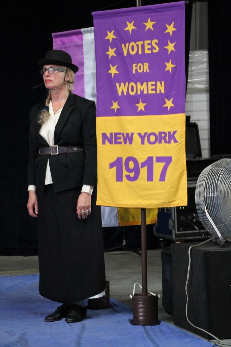 New York Women - Toby with banner.